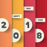 Het ontwerpmalplaatje van de groetkaart met Moderne Teksten voor Nieuwe 2018 stock illustratie