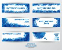 Het ontwerpmalplaatje van de groetkaart met Moderne Teksten voor Nieuwe 2018 royalty-vrije illustratie