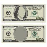 Het ontwerpmalplaatje van de honderd dollarrekening 100 dollarsbankbiljet, voorkant met en zonder voorzitter stock illustratie