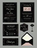 Het ontwerpmalplaatje van de huwelijksuitnodiging voor druk met sparen de datum, Stock Foto