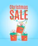 Het ontwerpmalplaatje van de Kerstmisverkoop, banner, met giftdozen en lichtgevende slinger Stock Afbeelding