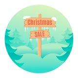 Het ontwerpmalplaatje van de Kerstmisverkoop met houten uithangbord Royalty-vrije Stock Afbeelding