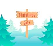 Het ontwerpmalplaatje van de Kerstmisverkoop met uithangbord Vector illustratie Stock Afbeeldingen