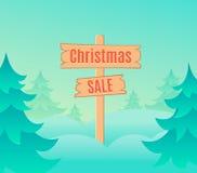 Het ontwerpmalplaatje van de Kerstmisverkoop met uithangbord Vector illustratie beeldverhaal Royalty-vrije Stock Fotografie
