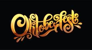 Het Ontwerpmalplaatje van de Oktoberfest met de hand geschreven gouden van letters voorziend kopbal De titel vectorontwerp van de royalty-vrije illustratie