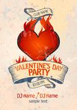Het ontwerpmalplaatje van de Partij van de Dag van de valentijnskaart ` s. stock illustratie