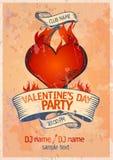 Het ontwerpmalplaatje van de Partij van de Dag van de valentijnskaart `s royalty-vrije illustratie