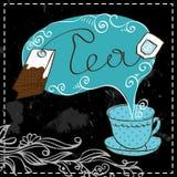 Het ontwerpmalplaatje van de theetijd stock illustratie