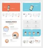 Het ontwerpmalplaatje van de twee paginawebsite met conceptenpictogrammen en avatars voor bedrijfportefeuille Stock Afbeeldingen