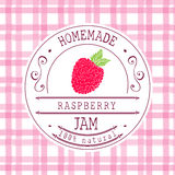 Het ontwerpmalplaatje van het jametiket voor het product van het frambozendessert met hand getrokken geschetste fruit en achtergr Stock Afbeelding