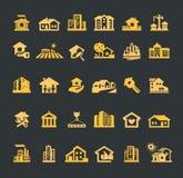 Het ontwerpmalplaatje van het landgoed vectorembleem huis of vector illustratie