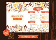 Het ontwerpmalplaatje van het ontbijtmenu Moderne hand-drawn schets met het van letters voorzien met Brood, cake, thee, eieren Vo Royalty-vrije Stock Foto's