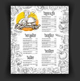Het ontwerpmalplaatje van het restaurant vectormenu voedsel, dranken of dessertpictogrammen Stock Foto's
