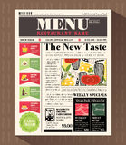 Het Ontwerpmalplaatje van het restaurantmenu in Krantenstijl Stock Foto's