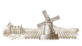 Het ontwerpmalplaatje van het wijngaard vectorembleem landbouwbedrijf of royalty-vrije illustratie