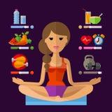 Het ontwerpmalplaatje van het yoga vectorembleem Sport, fitness stock illustratie