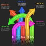 Het ontwerpmalplaatje van Infographics pijlen Stock Afbeeldingen