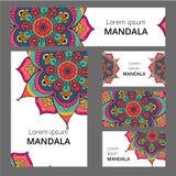 Het ontwerpmalplaatje van het Mandalapatroon Mag voor adreskaartje of boekje, banner, boekdekking worden gebruikt Vector illustra stock illustratie