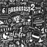 Het ontwerpmalplaatje van het ontbijt naadloos patroon Het moderne van letters voorzien met schetspictogrammen van voedsel op bor stock illustratie