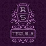 Het ontwerpmalplaatje van het Tequilaetiket Gevormd uitstekend monogram met tekst op naadloze patroonachtergrond stock illustratie