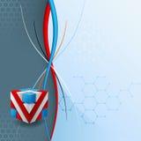 Het ontwerpmalplaatje voor abstracte technologieachtergrond met drie afmetingen kubeert ontworpen artistiek Stock Foto