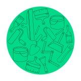Het ontwerpmalplaatjes van de behangdiy winkel logotype Moderne gemakkelijk om embleemmalplaatje uit te geven de reeks van het em Stock Foto