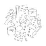 Het ontwerpmalplaatjes van de behangdiy winkel logotype Moderne gemakkelijk om embleemmalplaatje uit te geven De vectorreeks van  Stock Foto's