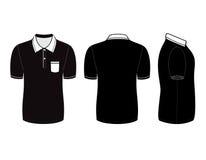Het ontwerpmalplaatjes van het polooverhemd (voor, achter en zijaanzichten) Royalty-vrije Stock Afbeeldingen