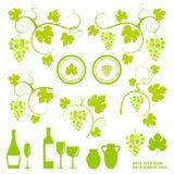 Het ontwerpobjecten van de wijnmakerij silhouetten. Stock Afbeelding