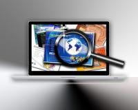Het ontwerponderzoek van de technologiewebsite royalty-vrije illustratie