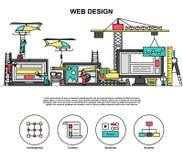 Het ontwerpproces van het Abstactweb, codage en ontwikkelingsinternetsite vector illustratie