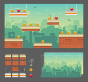 Het ontwerpreeks van het Platformerspel Royalty-vrije Stock Afbeelding