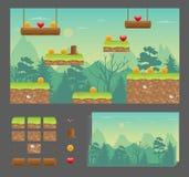 Het ontwerpreeks van het Platformerspel Stock Foto