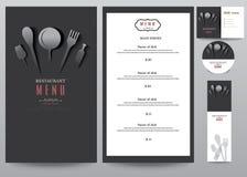 Het ontwerpreeks van het restaurantmenu, die op zwarte achtergrond desing Royalty-vrije Stock Afbeelding