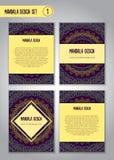 Het ontwerpreeks van krabbelmandala Uitstekende decoratieve elementen Stock Fotografie