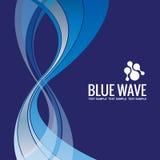 Het ontwerpvector bedrijfs van de achtergrondmalplaatje Abstracte Blauwe Golf Stock Foto