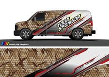 Het ontwerpvector van het autooverdrukplaatje abstracte backgrouvector vectornd voor voertuig vinylomslag royalty-vrije illustratie