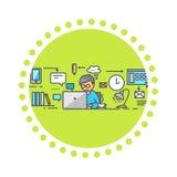 Het Ontwerpwerk van de pictogram het Vlakke Stijl aangaande Project Stock Afbeelding