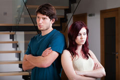 Het onverenigbare paar heeft een crisis Stock Fotografie