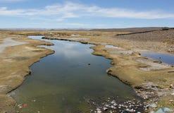 Het onvruchtbare landschap van Altiplano stock fotografie
