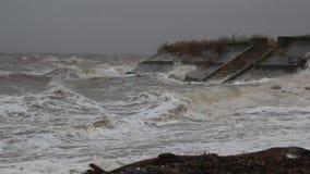 Het onweer op het overzees van Azov stock footage