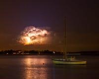 Het onweer van de bliksem bij nacht Stock Foto