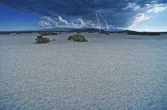 Het Onweer van de Bliksem van de woestijn Royalty-vrije Stock Fotografie