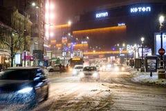 Het Onweer van de de wintersneeuw in de Stad van Boekarest bij Nacht Royalty-vrije Stock Afbeelding