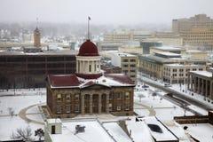 Het onweer van de sneeuw door het Oude Capitool van de Staat Royalty-vrije Stock Foto's