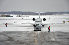 Het Onweer van de sneeuw op de luchthaven Royalty-vrije Stock Afbeeldingen