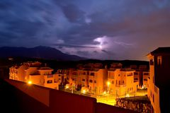Het onweer van de verlichting in Spanje Royalty-vrije Stock Fotografie