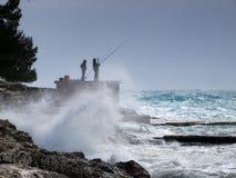 Het onweer van de visserij royalty-vrije stock afbeelding