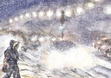 Het onweersscène van de de wintersneeuw, stormachtig avondweer, waterverfillustratie royalty-vrije stock afbeeldingen