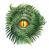 Het oog en de varens van de waterverfdinosaurus Royalty-vrije Stock Afbeeldingen